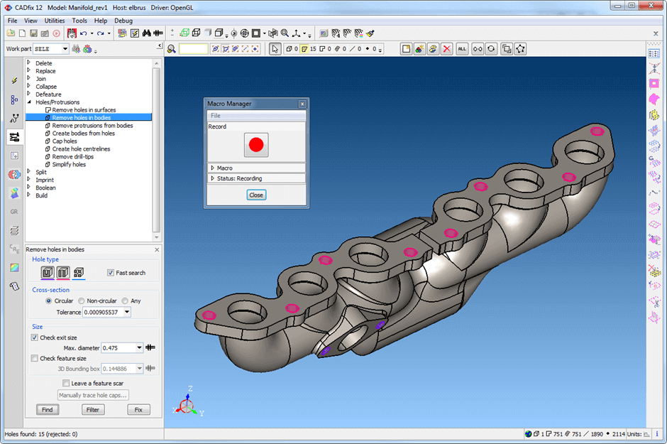 Macro management in CADfix for CAD repair