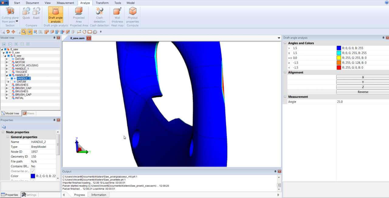 CAD model Draft Angle Analysis with 3DViewStation