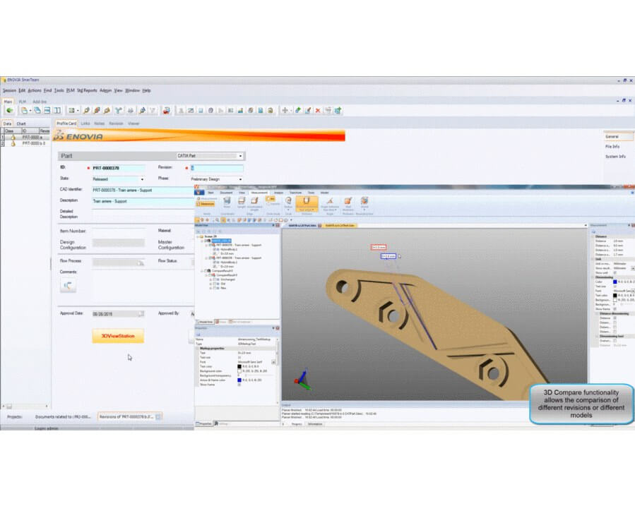 The 3D comparison functionality allows to highlight the differences between two models or two revisions